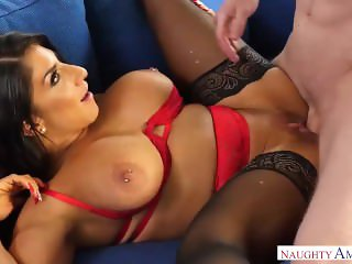 Step-mom In Stockings Raven Hart Doing A Foot Massage And Cums