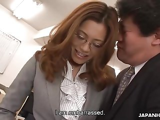 Sexy Asian secretary sucks president's cock to a yummy mouth