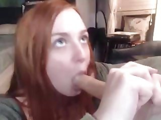 Redhead Ginger Practicing Blowjob with Dildo