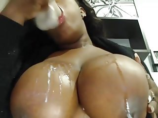big black webcam tit slut sucks her dildo and gets cum...
