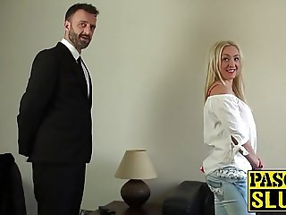 Blonde nympho Amber Deen masturbates in front of two guys