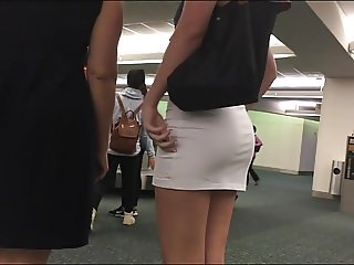 perfect candid ass in tight mini skirt