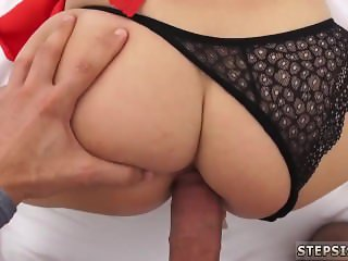 Teen strips and masturbates short hair