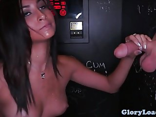 Gloryhole cocksucker stuffs pussy with cock