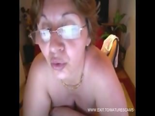 Huge naturals granny Milena on home webcam