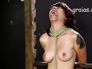 Breast caning for tied up girl