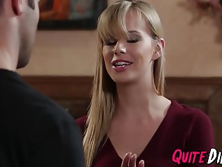 Blonde chick Jillian Janson gets pussy drilled after blowjob