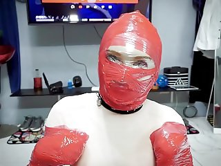 BONDAGE TAPE DOG FACE SITTING BREATH PLAY kigurumi