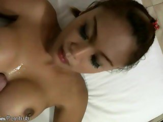 Bigtitted feminine ladyboy strokes and swallows thick shaft