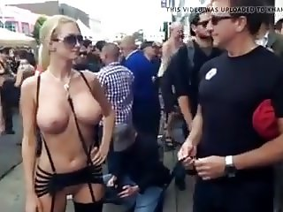 Blond with big tits at fair