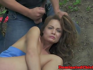 Teen babe dominated outdoors