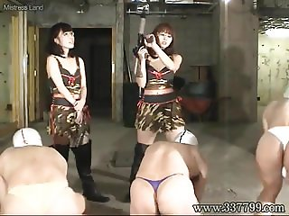 Slaves violently kicked by the Japanese Femdom