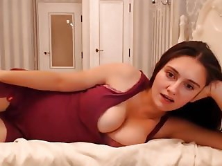 Super Sexy Long Haired Polish Striptease and Masturbating