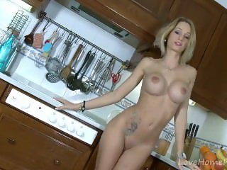 Busty Blonde Amateur Stripping And Playing With Herself