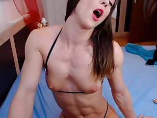 Muscle girl show tiny tits and plays with them!