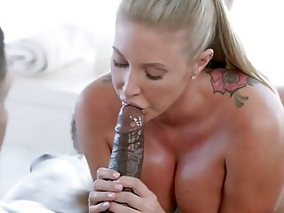 Slutty masseuse Samantha gets her pussy filled with BBC
