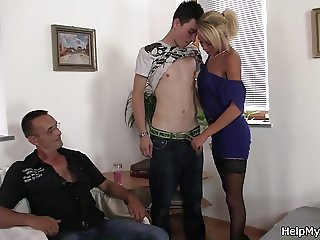 Young Czech blonde cuckolds old husband