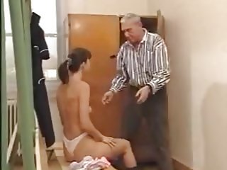 Grandpa takes care of young girl