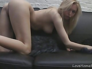 Busty blonde babe enjoys getting naked for you