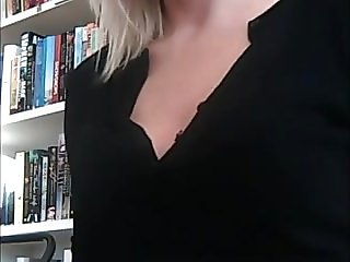 Blonde library crotchless panties