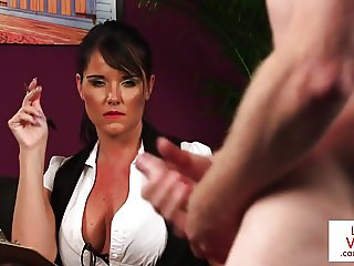 British milf voyeur instructs her sub to jerk