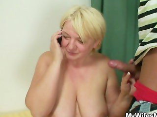 Masturbating old bag gets busted and screwed