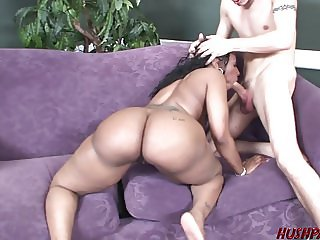 Huge ass black babe Cherokee seduced by white dude