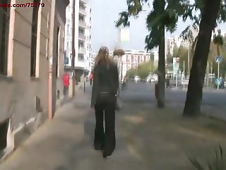 Hunting a slave in the city.The blonde victim.BDSM movie.