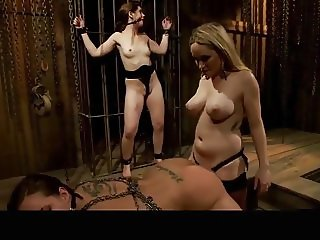Two lesbians dominated and strap on anal fucked by mistress