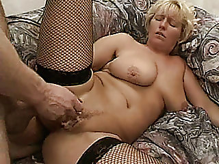 Naughty Milf with big tits hardcore threesome with facial