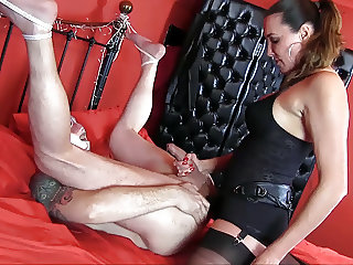 Horny gimp gagging and anal fucking femdoms big strapon cock