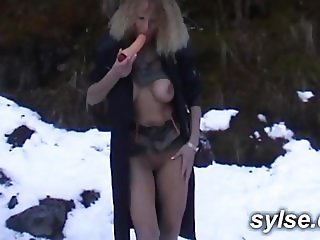 MILF with sex toys in moutain