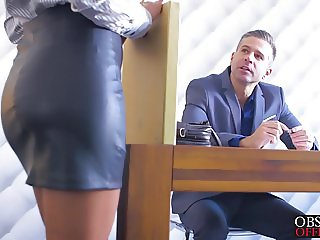 Sexy blonde babe Sofi Goldfinger banged hard in office
