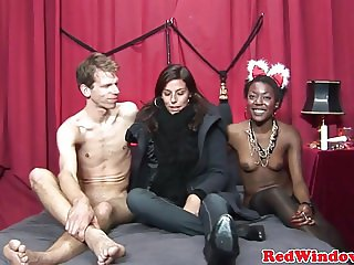 Black dutch prostitute rides and jerks cock