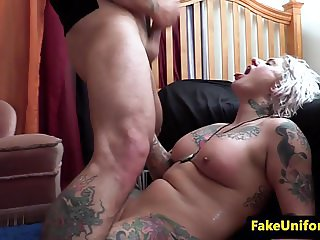 British cop fucks chunky blondes pussy