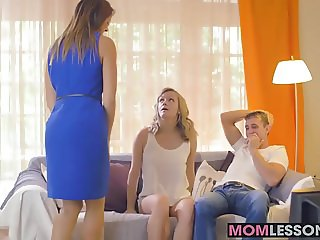 Horny babes Ani Blackfox and Lucette Nice drilled hard on so