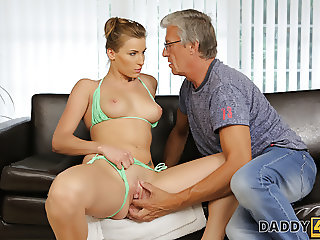 DADDY4K. Sex with her boyfriend's father at swimming pool.