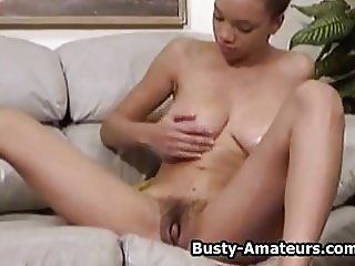 Busty amateur Gia strips and masturbating her pussy