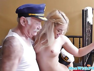 Teen babe anally fucked in old vs young trio