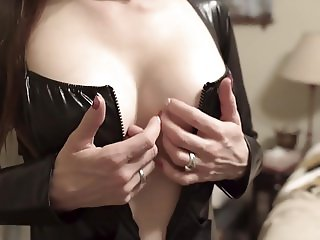 Shy Milf does Catsuit Striptease