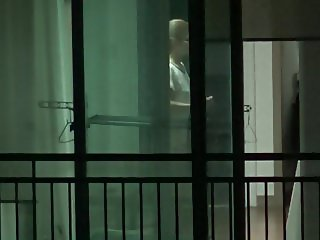 Korean girl lttile dance and half naked window voyeur