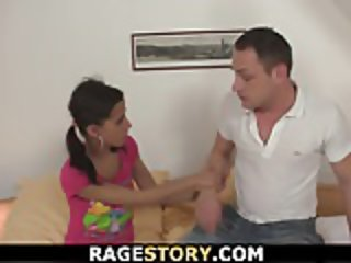 Deepthroat and rough riding for petite teen