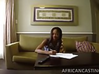 Skinny african babe getting filled