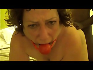 Mature white lady ball gagged and ass fucked by BBC