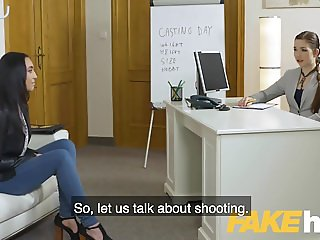 Female Agent Lesbian lust after sexy striptease