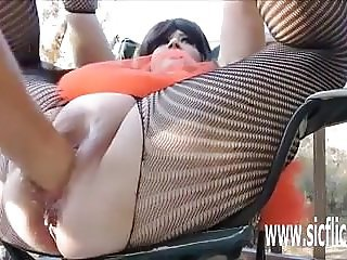 Double fisting and bottle fucking BBW bucket pussy