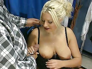 Big Saggy Tits MILF Blonde Piss Sucking Cock stockings