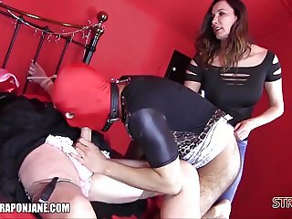 Femdom teaches sissys to lick boots suck cock cum in face