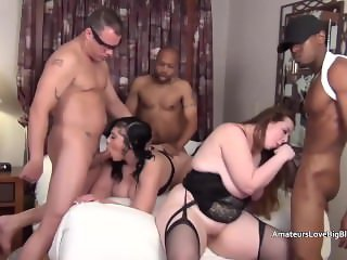 Four guys invade a mature chubby four way slumber party