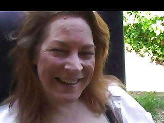 Amateur Mature Redhead - Oral Outdoors